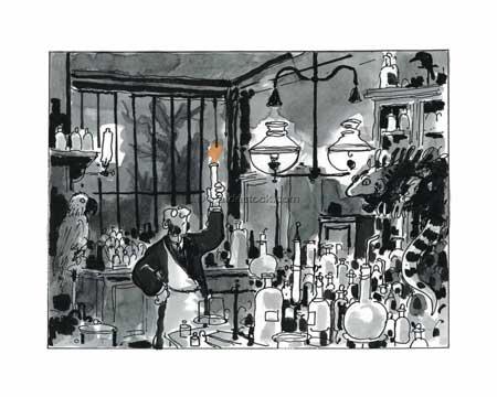 """Affiche d'art Avril et le monde truqué """"Le laboratoire"""" de Jacques Tardi - Illustrose"""