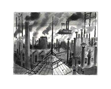 """Affiche d'art Avril et le monde truqué """"Les toits"""" de Jacques Tardi - Illustrose"""