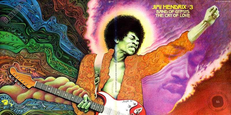Illustration de Jean Solé pour la pochette du vinyle Jimi Hendrix volume 3