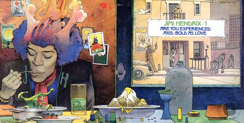Illustration de Moebius pour la pochette du vinyle Jimi Hendrix volume 1