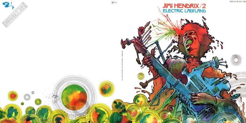 Illustration de Philippe Druillet pour la pochette du vinyle Jimi Hendrix volume 2