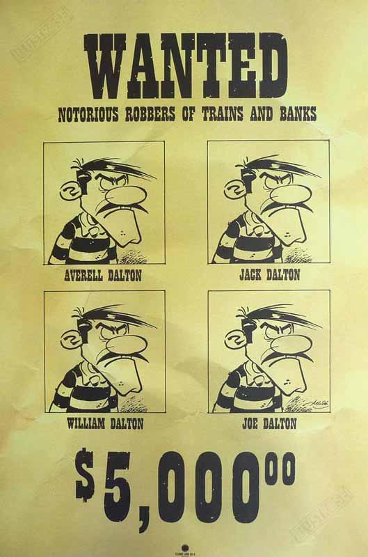 Affiche d'art BD Lucky Luke de Achdé 'Wanted' - Illustrose