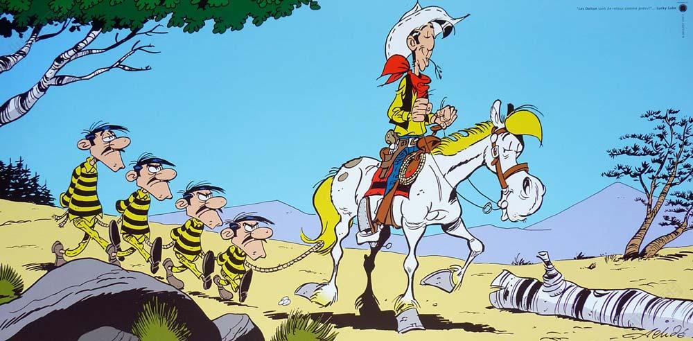 Affiche d'art BD Lucky Luke de Achdé 'Les Dalton' - Illustrose