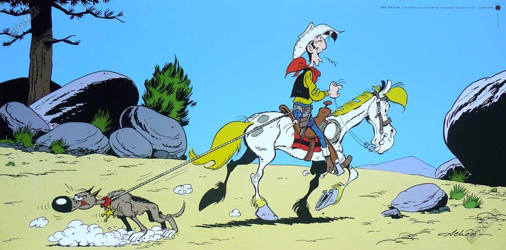 Affiche d'art BD Lucky Luke de Achdé 'Rantanplan' - Illustrose