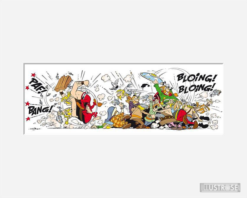 Affiche d'art décorative BD Astérix d'Albert Uderzo 'La bagarre' - Illustrose