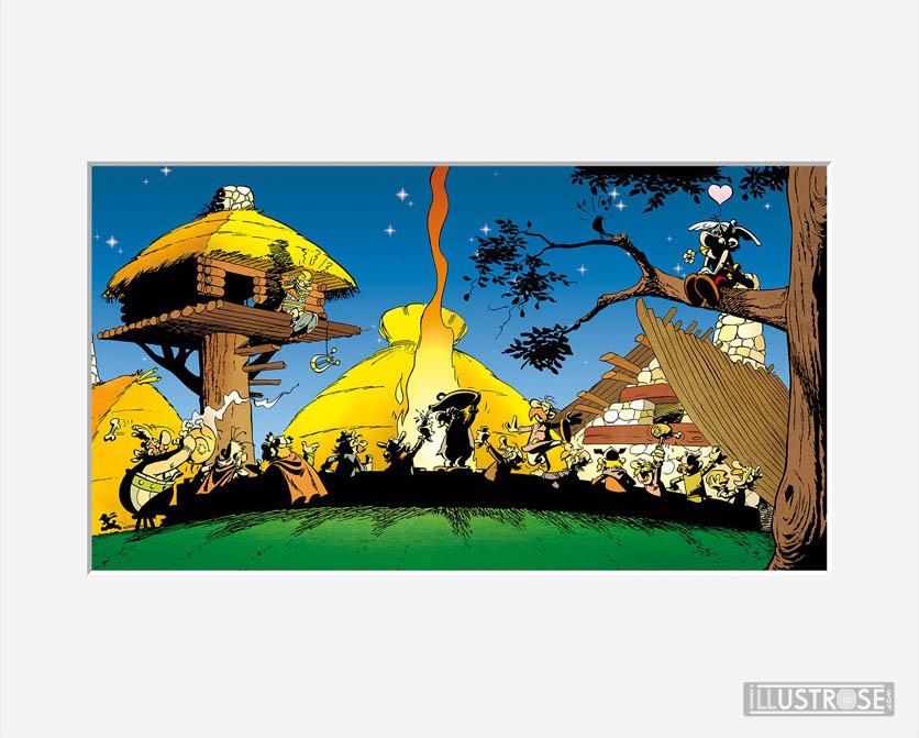 Affiche d'art décorative BD Astérix d'Albert Uderzo 'Banquet légionnaire' - Illustrose
