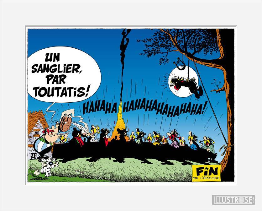 Affiche d'art décorative BD Astérix d'Albert Uderzo 'Le banquet' - Illustrose