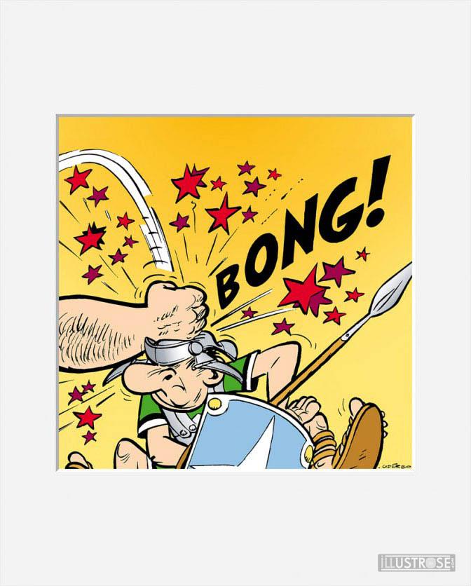 Affiche d'art décorative BD Astérix d'Albert Uderzo 'Bong!' - Illustrose