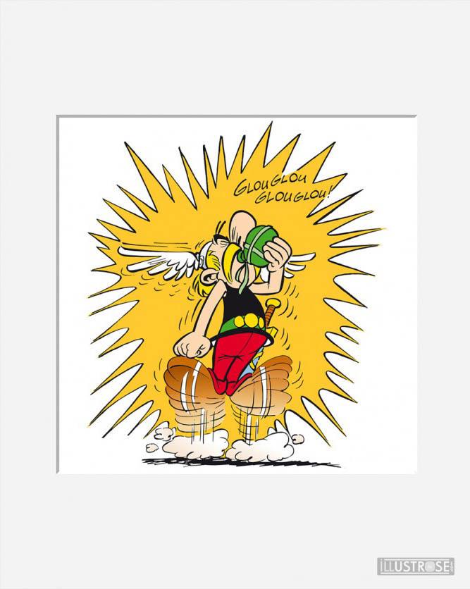 Affiche d'art décorative BD Astérix d'Albert Uderzo 'Glouglou' - Illustrose