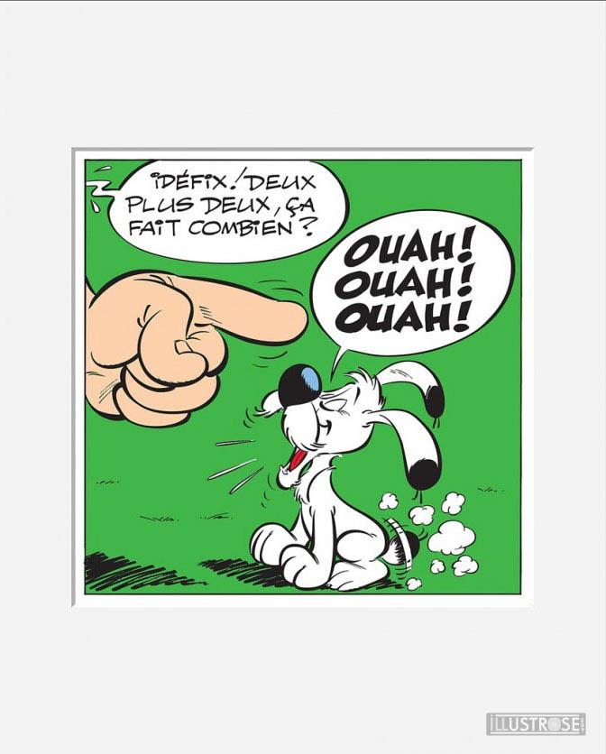 Affiche d'art décorative BD Astérix d'Albert Uderzo 'Ouah! Ouah! Ouah!' - Illustrose