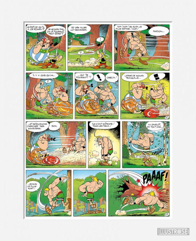 Affiche d'art décorative BD d'Albert Uderzo 'Astérix aux JO' - Illustrose