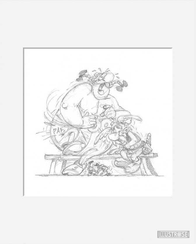 Affiche d'art décorative BD Astérix d'Albert Uderzo 'Fou rire' - Illustrose
