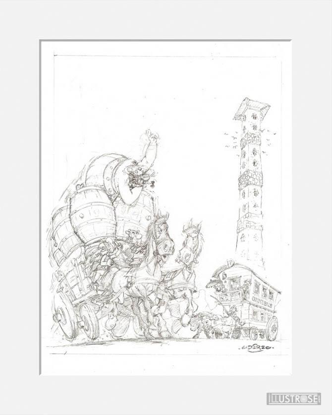 Affiche d'art décorative BD Astérix d'Albert Uderzo 'Oxnibus' - Illustrose