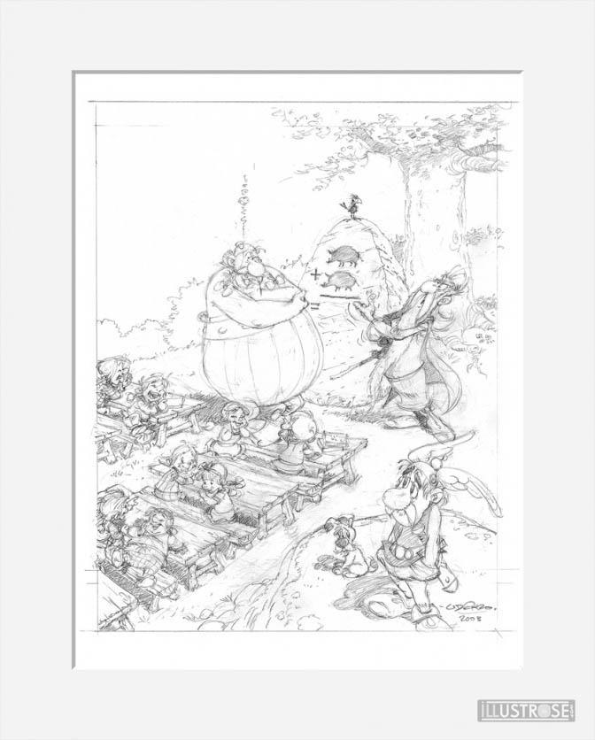 Affiche d'art décorative BD Astérix d'Albert Uderzo 'La rentrée' - Illustrose