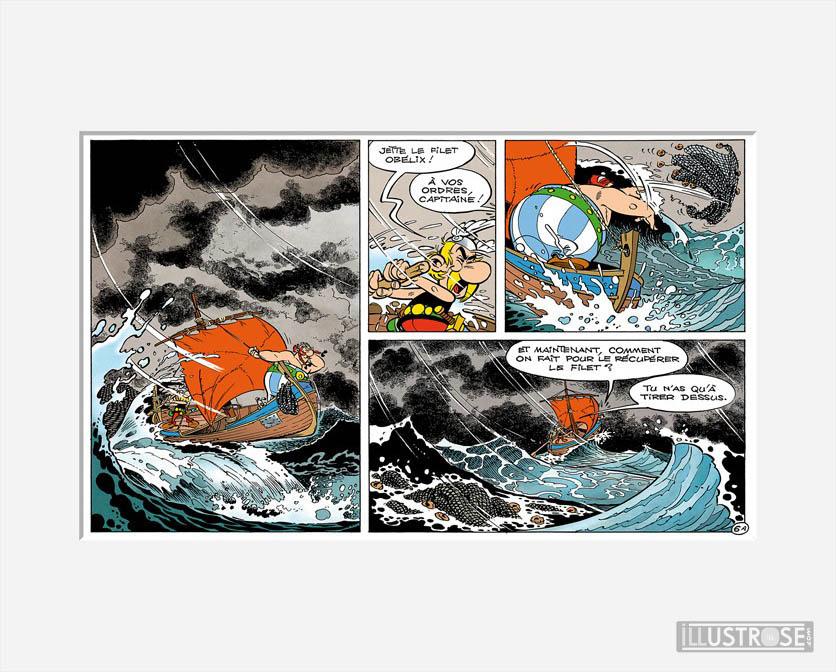 Affiche d'art décorative BD Astérix d'Albert Uderzo 'Tempête' - Illustrose