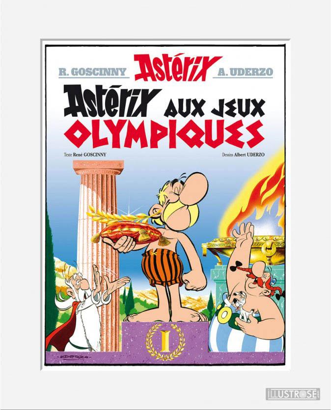 Affiche d'art décorative BD Astérix d'Albert Uderzo 'Couverture Astérix aux JO' - Illustrose