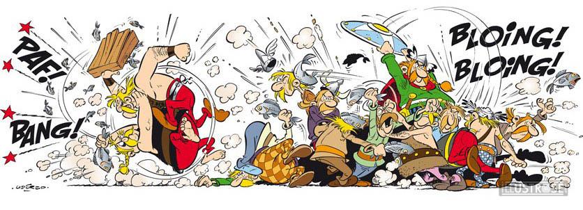 Digigraphie toile décorative BD Astérix d'Albert Uderzo 'La bagarre' - Illustrose