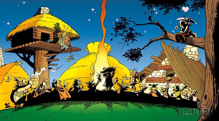 Toile BD décorative Astérix d'Albert Uderzo 'Banquet légionnaire' - Illustrose