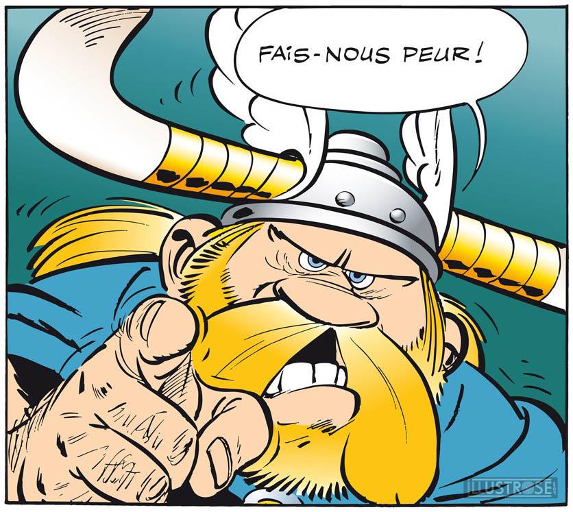 Toile BD décorative Astérix d'Albert Uderzo 'Fais nous peur' - Illustrose