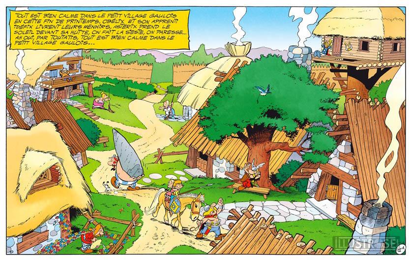 Toile BD décorative Astérix d'Albert Uderzo 'Village des irréductibles' - Illustrose