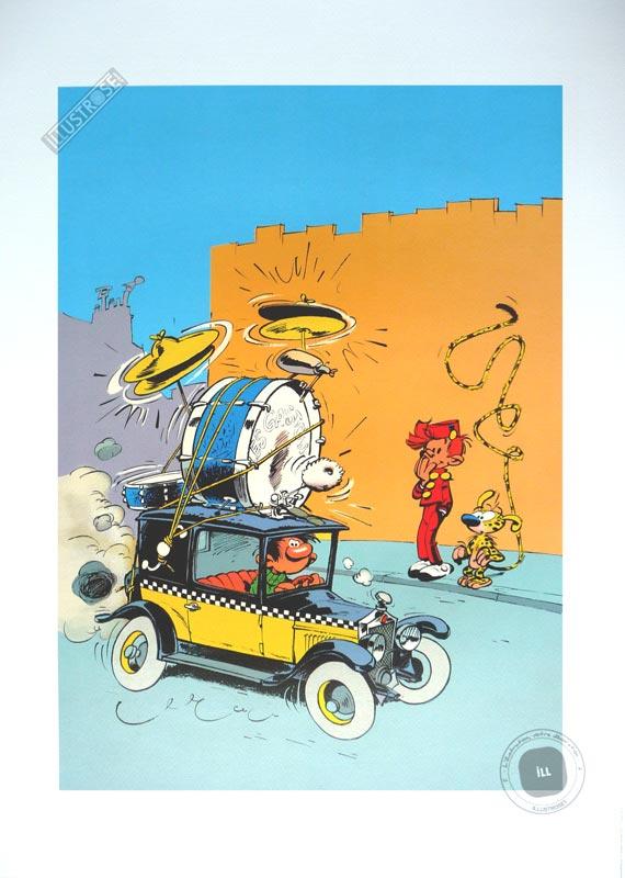 Affiche d'art poster BD 'Gaston Lagaffe, Taxi Fiat' - Illustrose