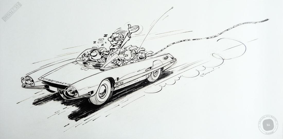 Affiche d'art poster BD 'Spirou et Fantasio, Turbotraction' - Illustrose