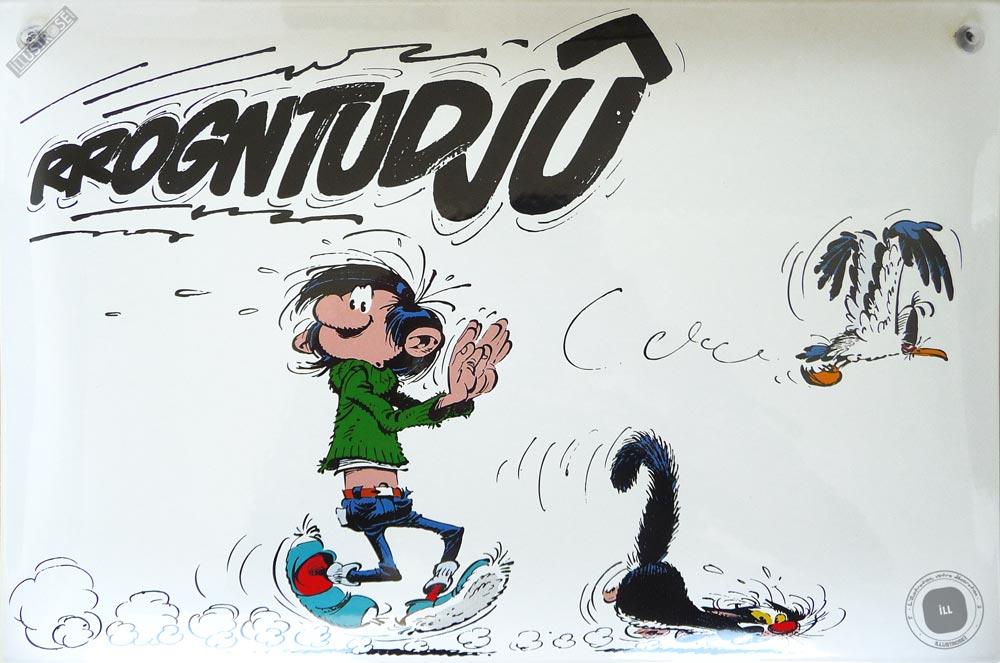 Plaque émaillée sérigraphiée para BD déco Gaston Lagaffe 'Rrogntudjû' de Franquin  - Illustrose