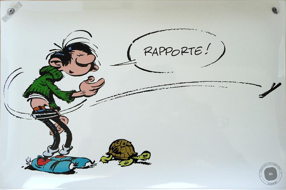 Plaque émaillée sérigraphiée para BD déco Gaston Lagaffe 'Tortue, rapporte' de Franquin  - Illustrose