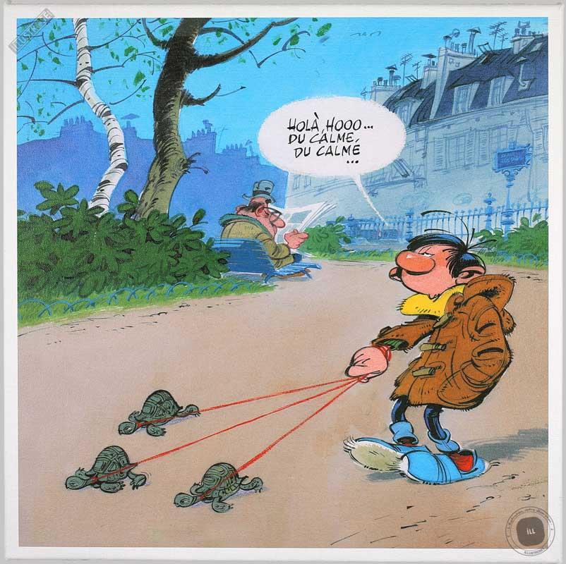 Toile BD décorative Gaston Lagaffe d'André Franquin 'Promenade' - Illustrose