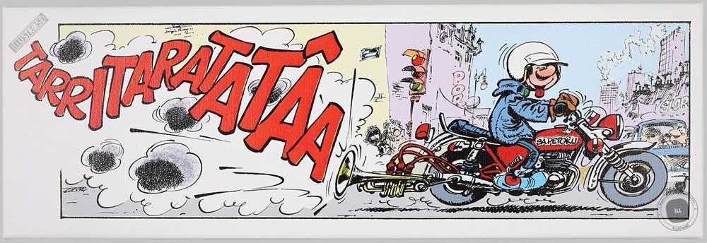 Toile BD décorative Gaston Lagaffe d'André Franquin 'Tarritaratatâa' - Illustrose