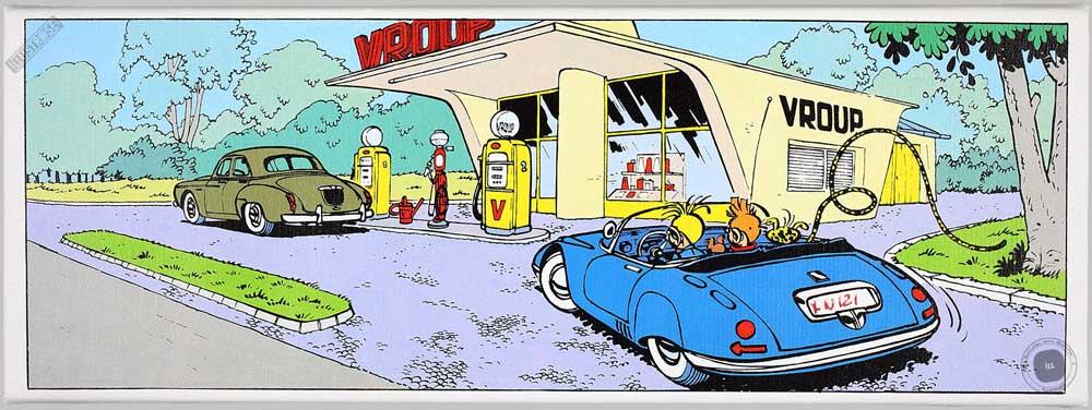 Toile BD décorative Spirou et Fantasio d'André Franquin 'Station essence' - Illustrose