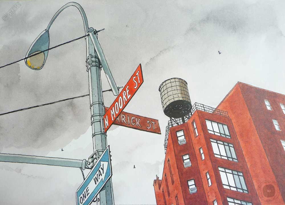 Affiche d'art de André Juillard 'N.Moore street' - Illustrose