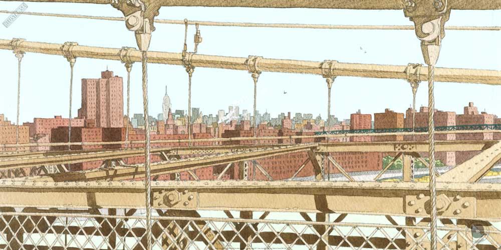 Affiche d'art de André Juillard 'Brooklyn Bridge' - Illustrose