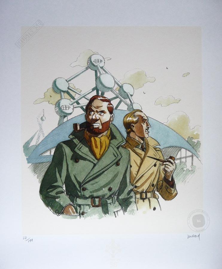 Affiche édition d'art BD illustration signée André Juillard 'Blake et Mortimer, Atomium 58' - Illustrose