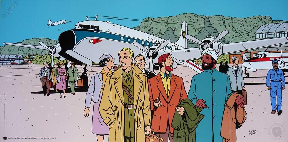 Affiche BD Blake et Mortimer de Juillard 'Un vol sans histoire' - Illustrose