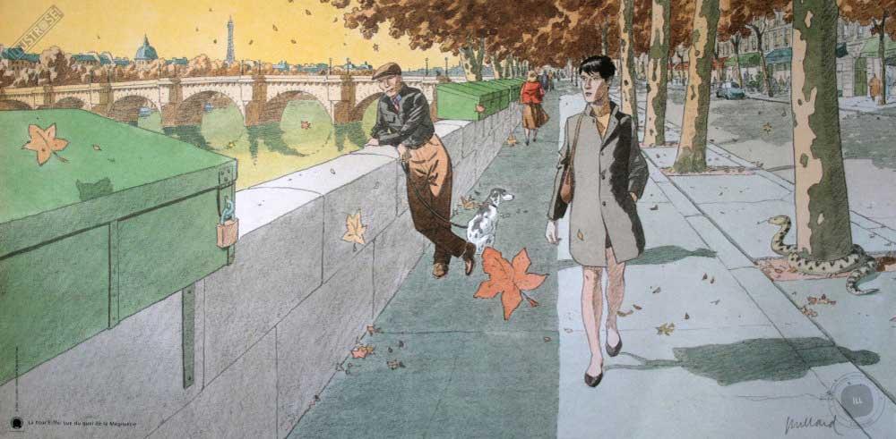 Affiche d'art André Juillard 'Une vue de la tour eiffel' - Illustrose