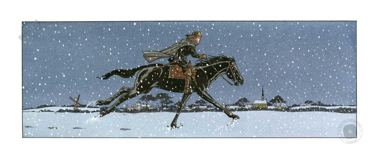 Estampe BD Les 7 vies de l'épervier 'Nuit enneigée'- Illustrose