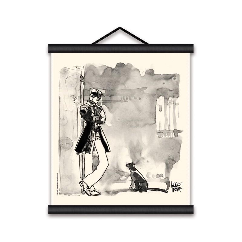 Toile décorative BD Corto Maltese 'Corto et le chat' - Illustrose
