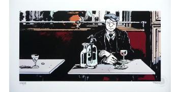Estampe pigmentaire N°/Signée '1915 au Bistrot' - Jacques Tardi