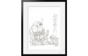Digigraphie sur papier d'art 'Astérix, Oxnibus' - Albert Uderzo