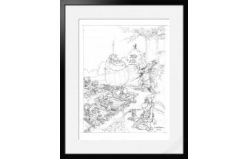 Digigraphie sur papier d'art 'Astérix, La rentrée' - Albert Uderzo