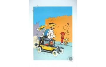 Affiche d'art 'Gaston Lagaffe, Taxi Fiat' - André Franquin