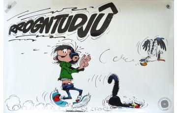 Plaque émaillée 'Gaston Lagaffe, Rrogntudjû' - Franquin