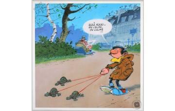 Toile 'Gaston Lagaffe, Promenade' - André Franquin