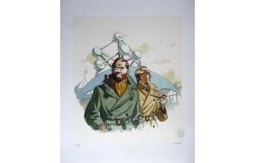 Affiche d'art N°/Signée 'Blake et Mortimer, Atomium 58' - André Juillard