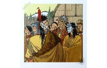 Affiche d'art N°/Signée 'Les indiens du Canada, plume aux vents' - André Juillard