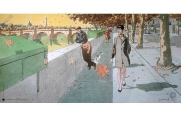 Affiche d'art 'Une vue de la tour eiffel, quai de la Mégisserie' - André Juillard