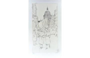 Estampe pigmentaire N°/Signée 'Blake et Mortimer, St Paul's Cathedral' - André Juillard