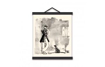 Toile sérigraphiée 'Corto Maltese, Corto et le chat' - Hugo Pratt