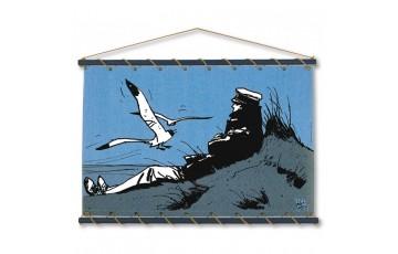 Toile sérigraphiée 'Corto Maltese, Dune bleu' - Hugo Pratt
